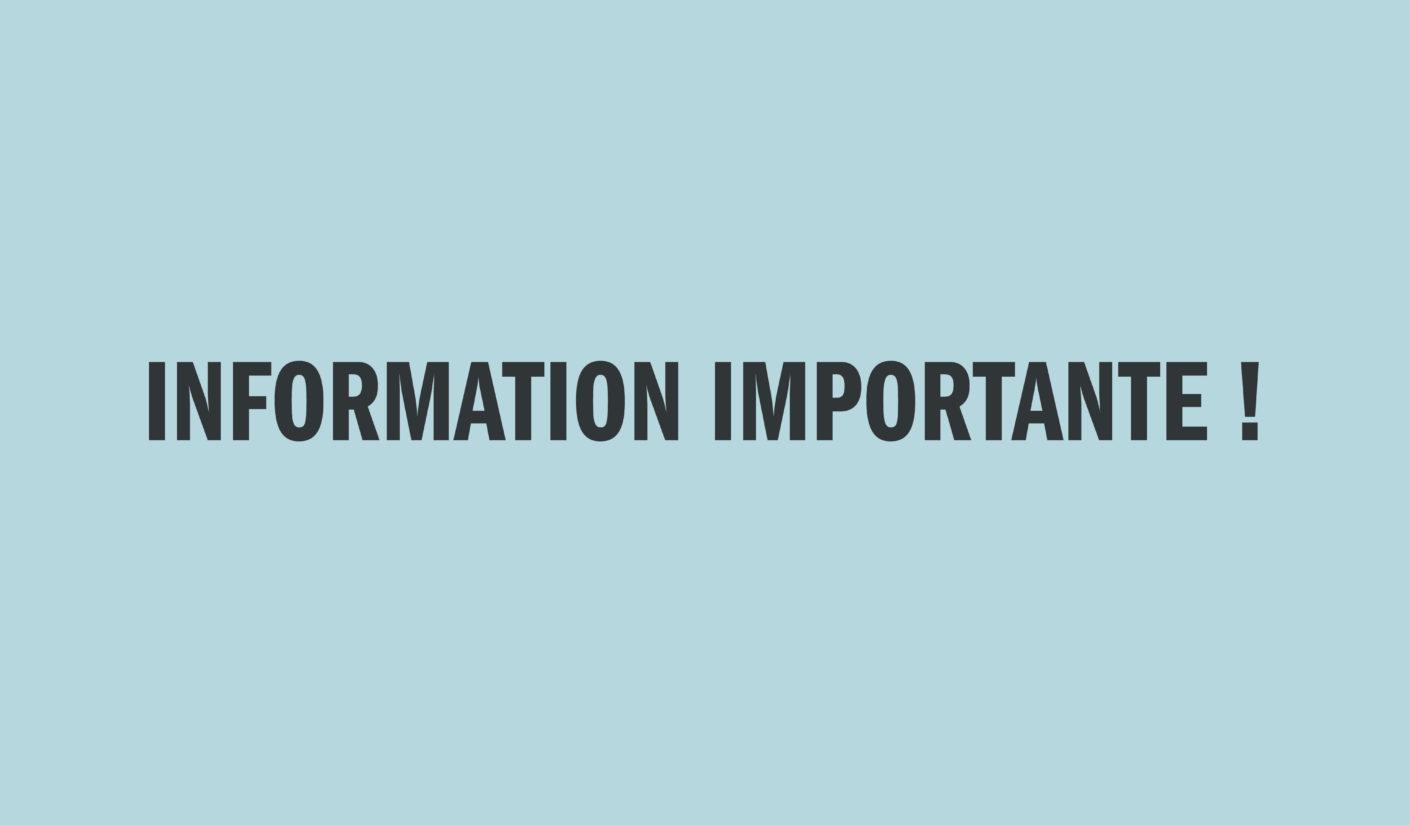 Covid-19 : Information importante !